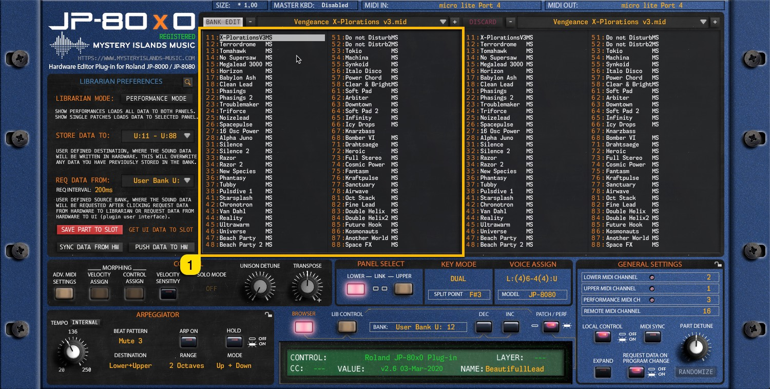 JP-80x0 User Manual - Left Patch / Performance Bank content view