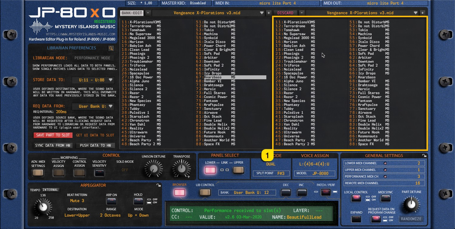 JP-80x0 User Manual - Right Patch / Performance Bank content view