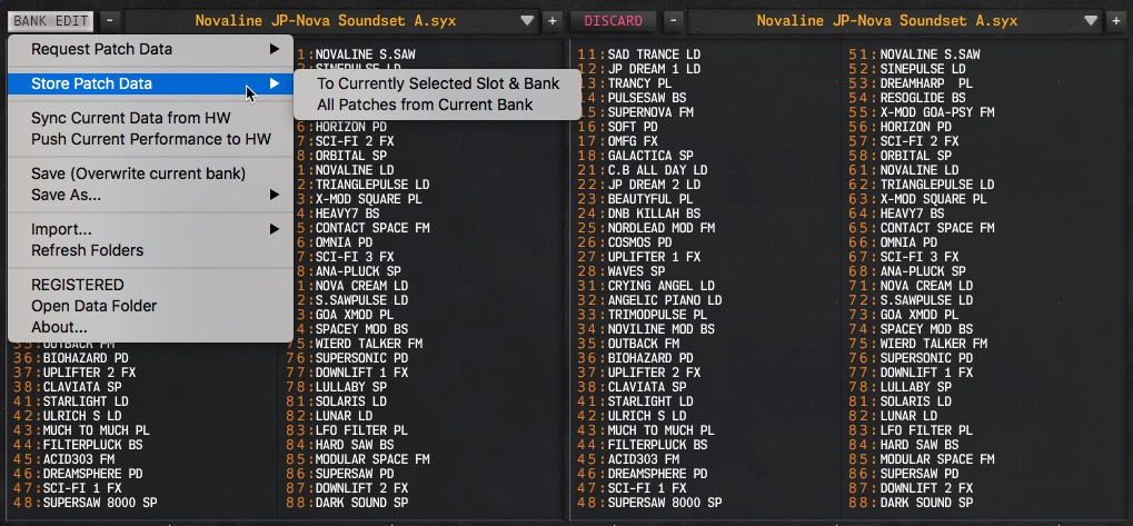 JP-80x0 User Manual - Storing Patches