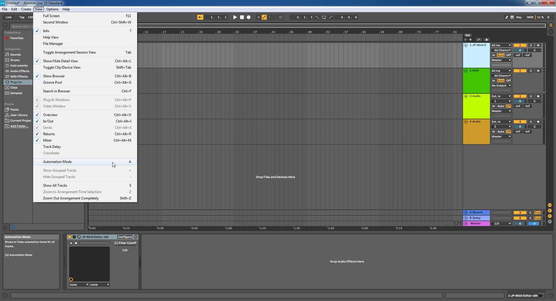 Ableton Live Config - Automation Mode view