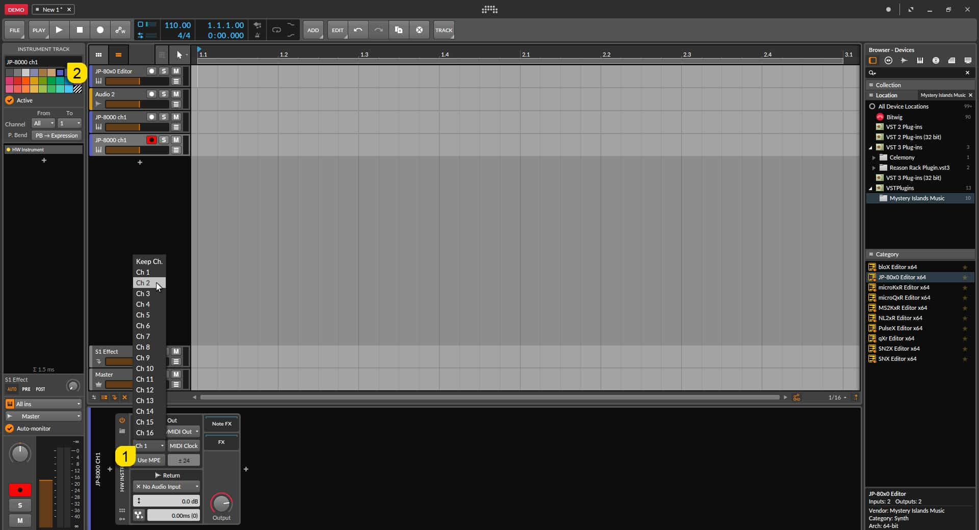 Bitwig Studio Config - Change the MIDI Channel to Reflect New Layer