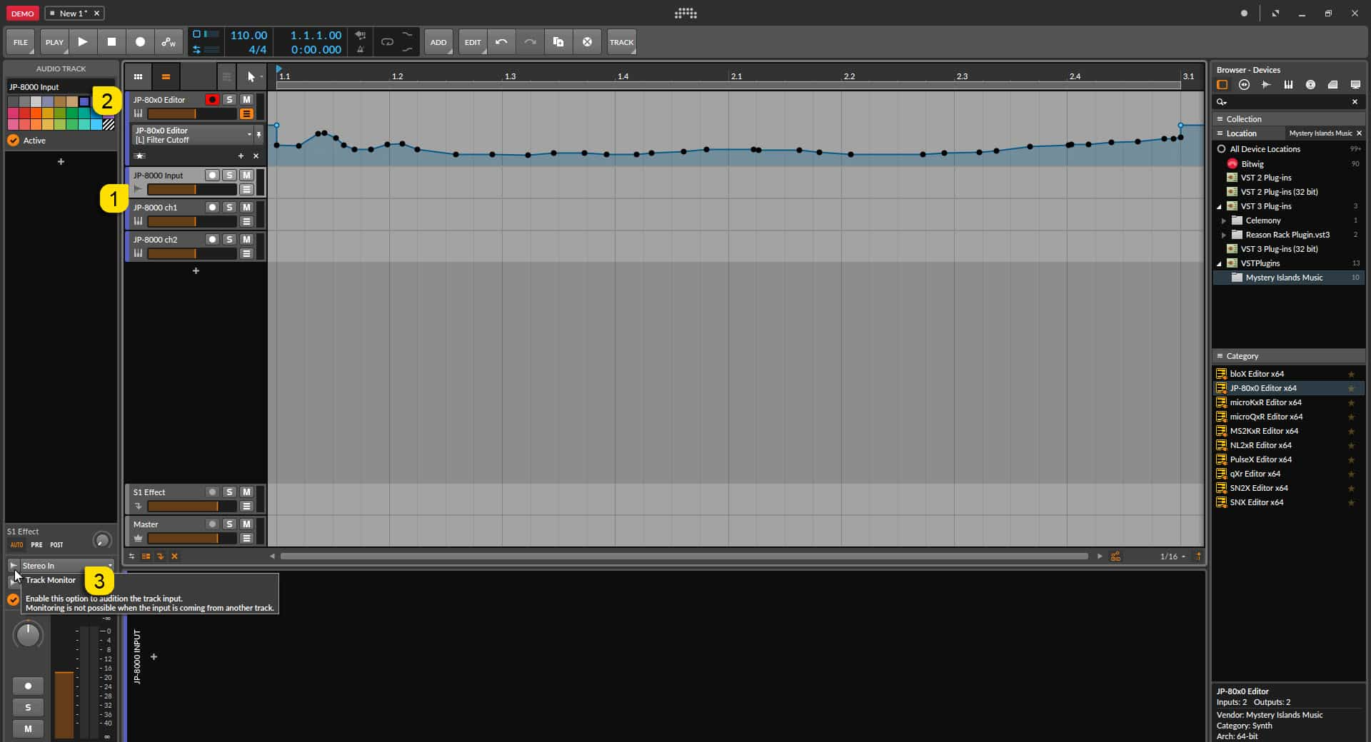 Bitwig Studio Config - Setting Up for Input Monitoring
