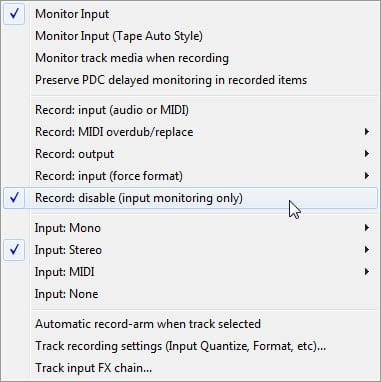Cockos Reaper Config - Select Track for Input Monitoring