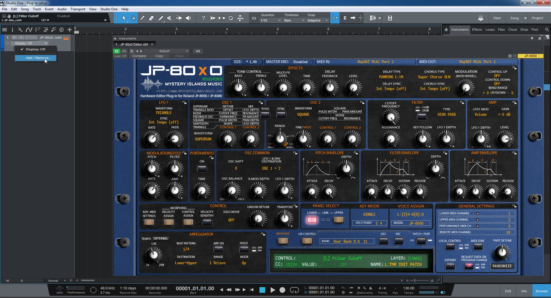 Studio One Config - Click to Add Parameters for Automation