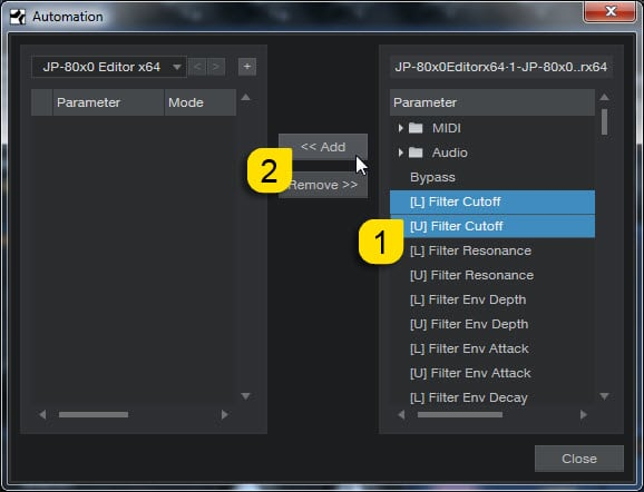 Studio One Config - Select Parameters as Needed