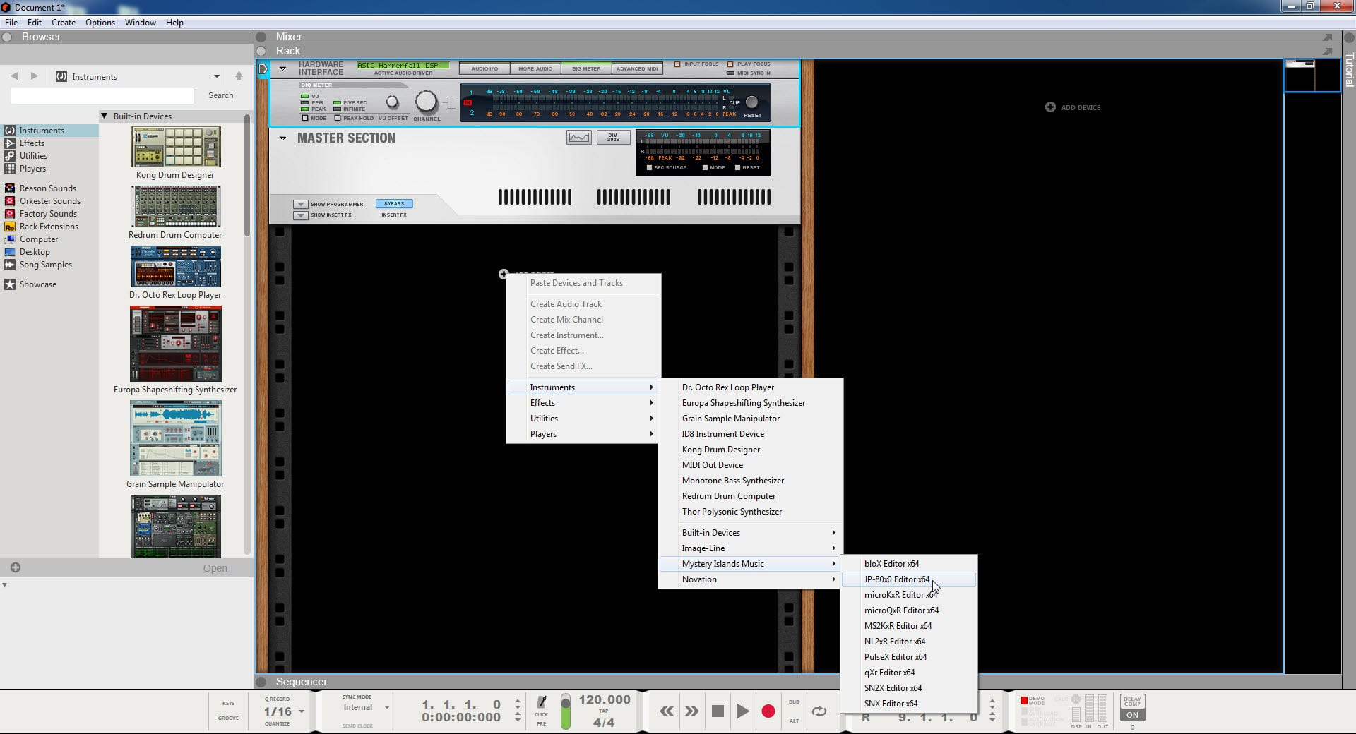 Reason Studios Config - Locate Our Plug-in from Instruments List