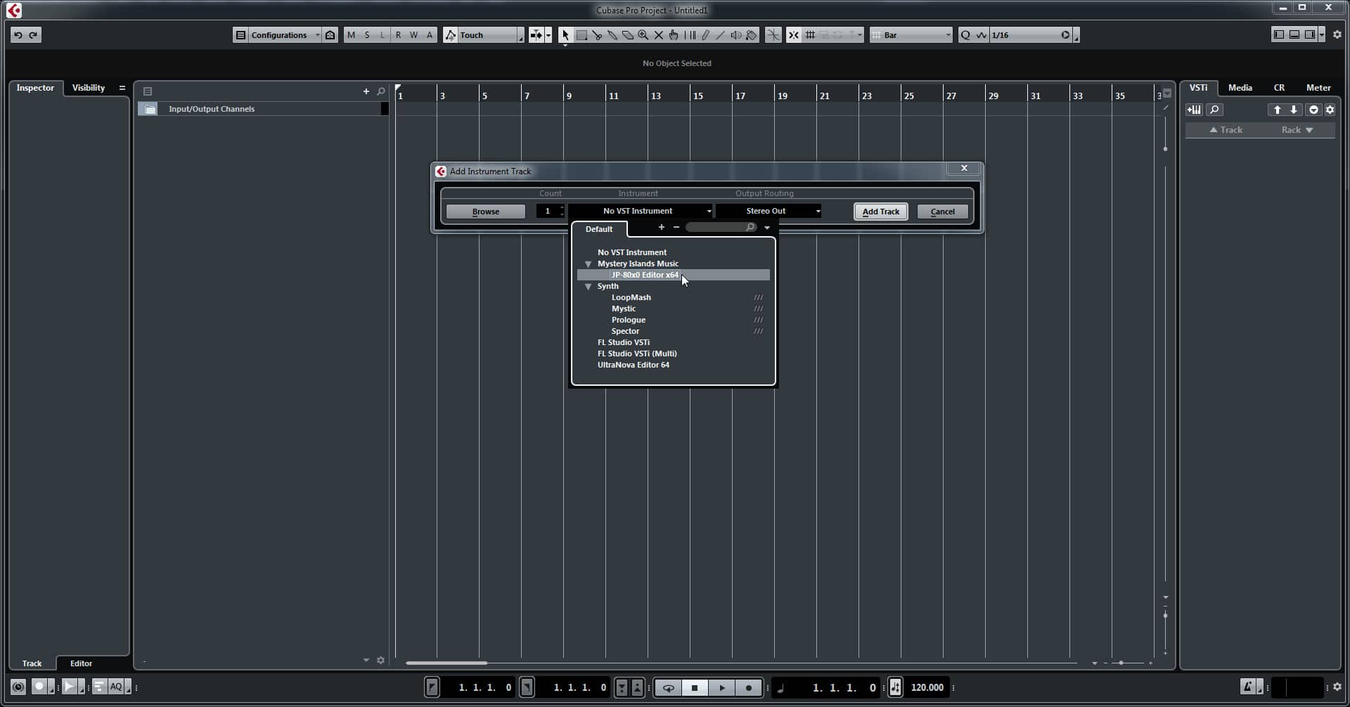 Steinberg Cubase Config - Select Our Plugin from the List