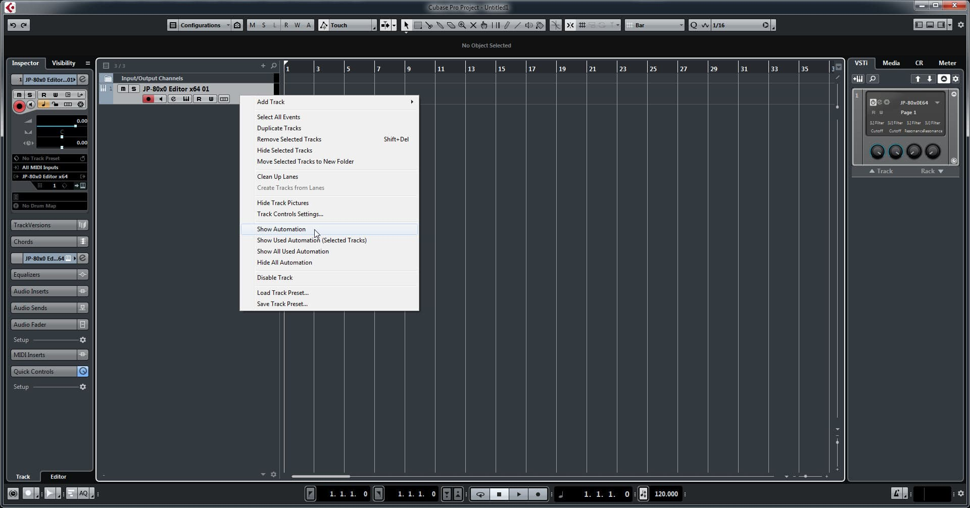 Steinberg Cubase Config - Show Instrument Automation