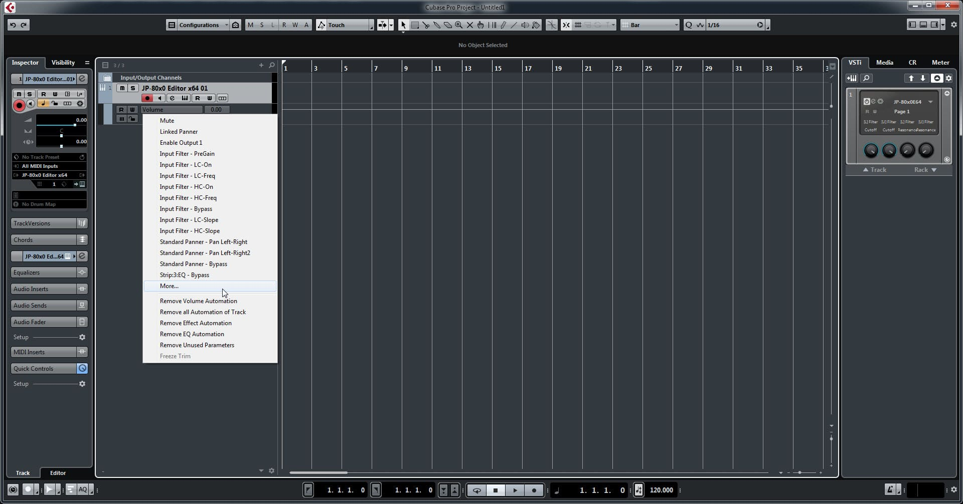 Steinberg Cubase Config - Click More to Reveal All Parameters