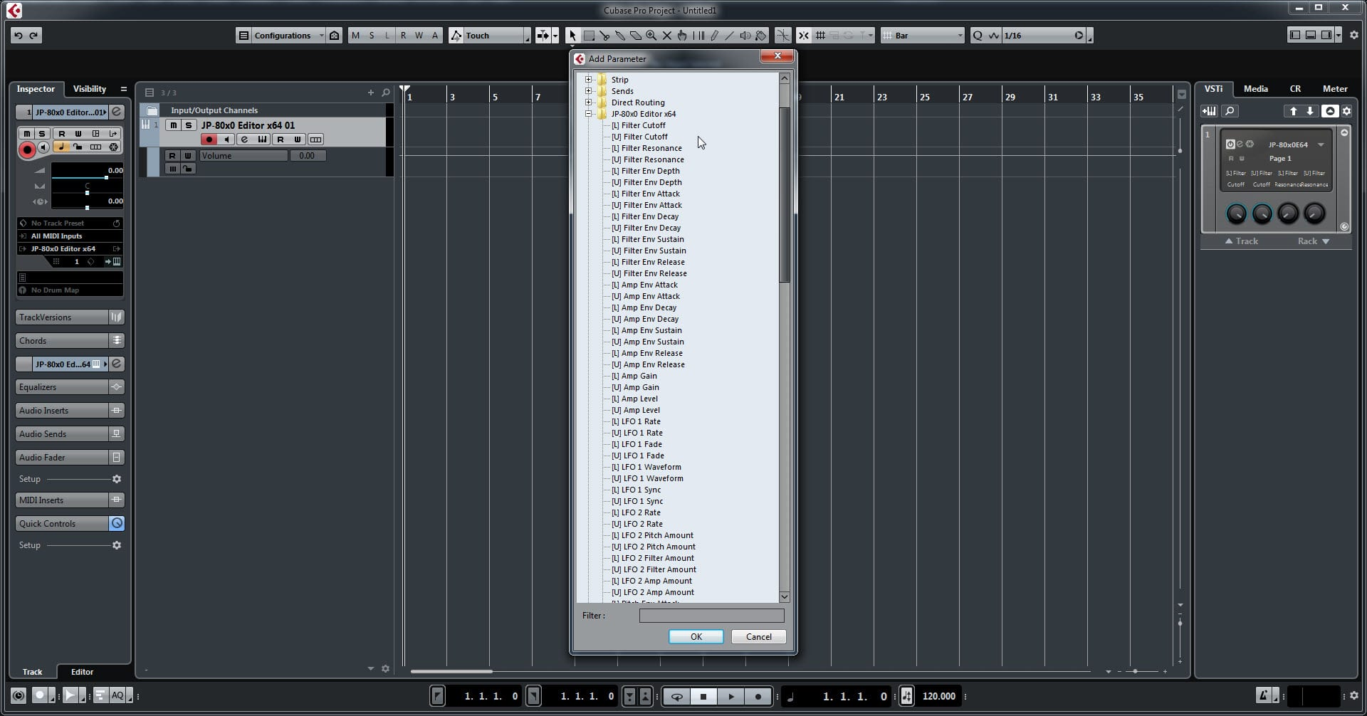 Steinberg Cubase Config - Choose Desired Parameter From the List