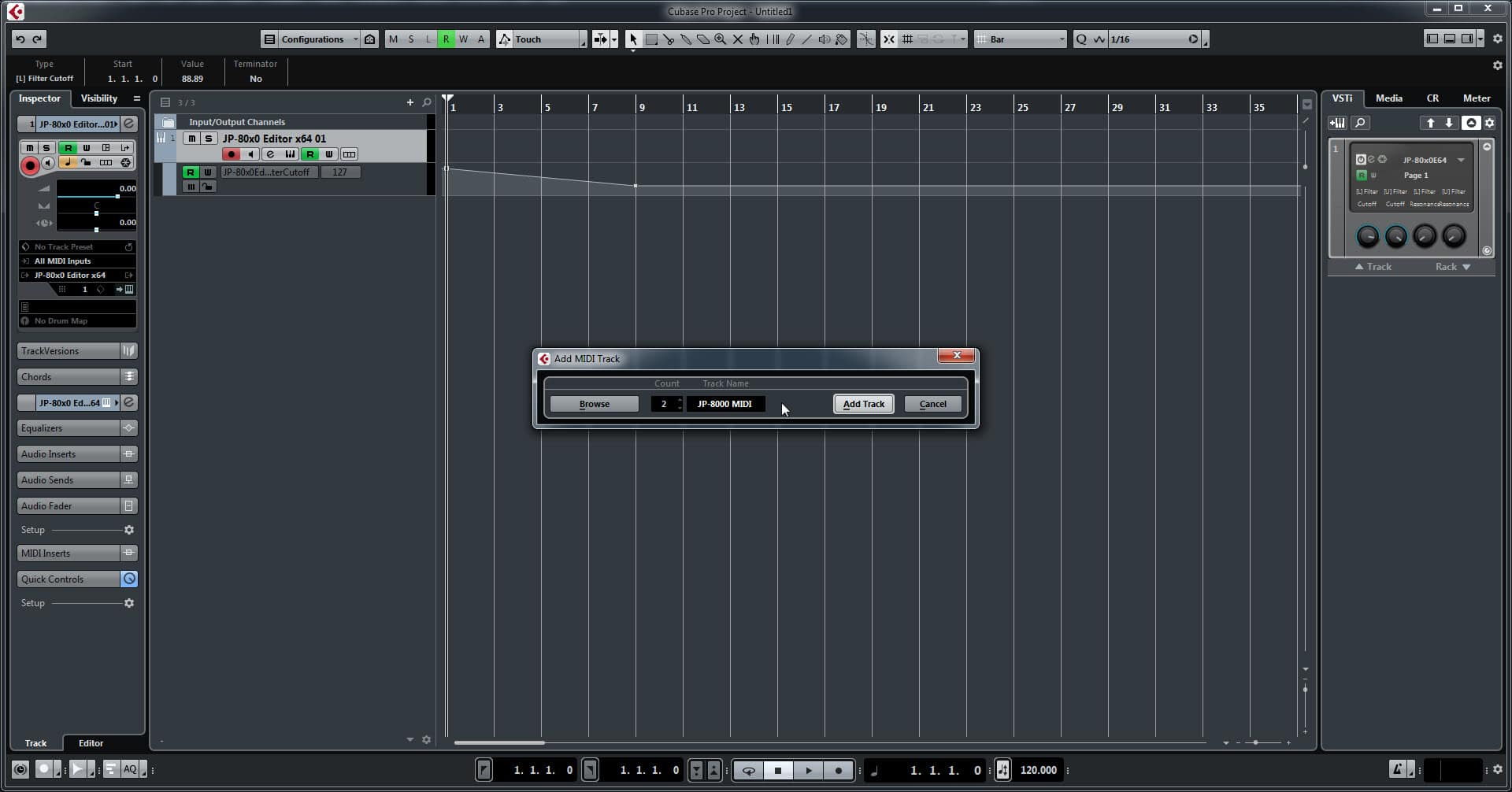 Steinberg Cubase Config - Add Track Name and Number of Tracks