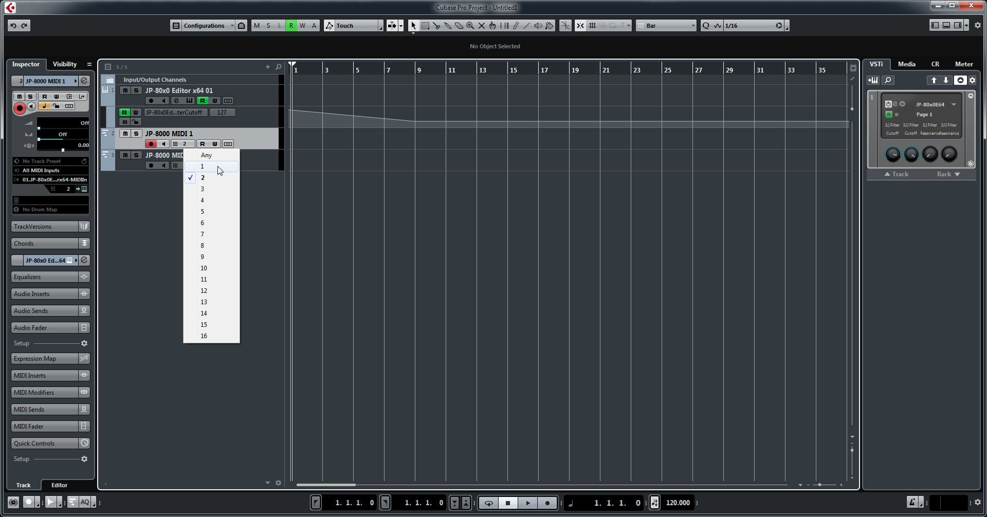 Steinberg Cubase Config - Assign MIDI Channels Appropriately