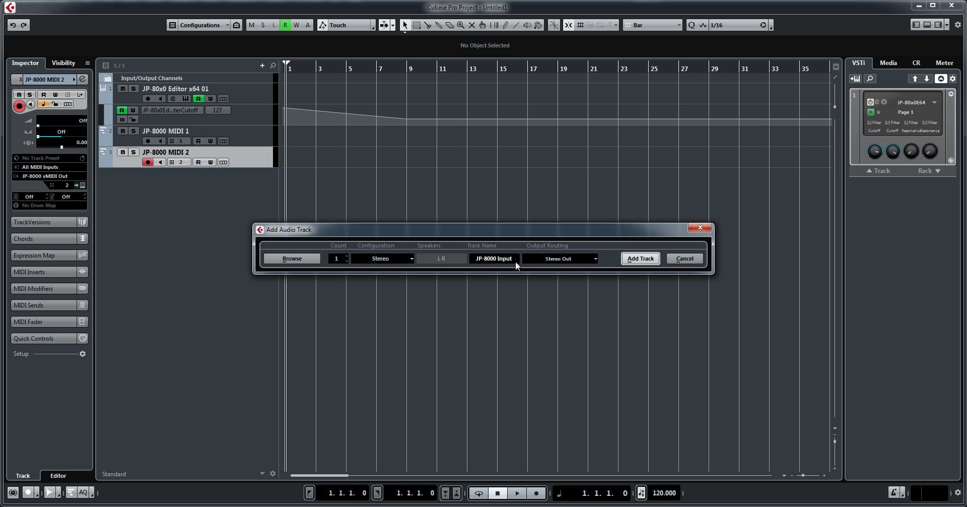 Steinberg Cubase Config - Enter Track Name and Input Source