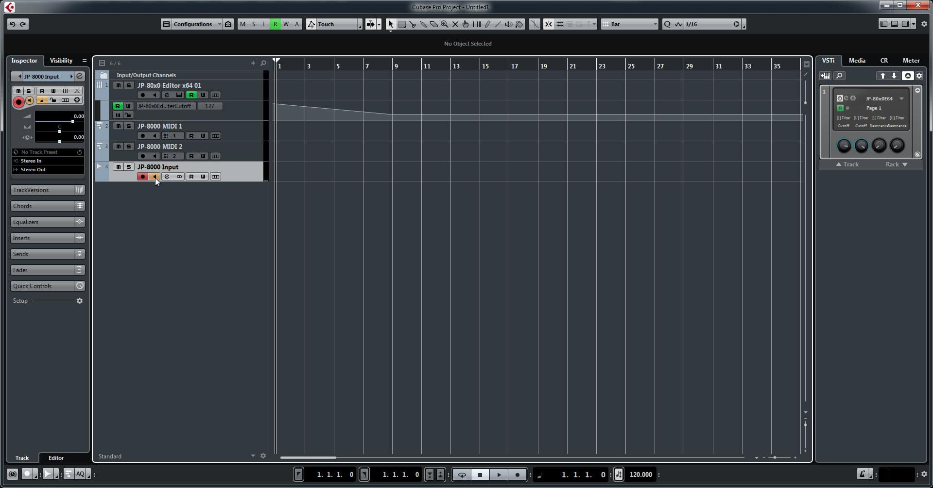 Steinberg Cubase Config - Toggle On Input Monitoring