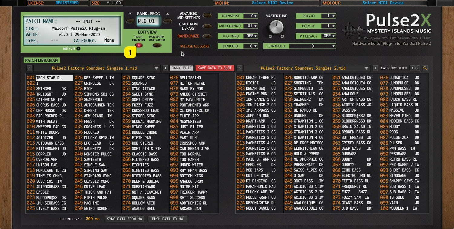Pulse2X User Manual – Patch Browser