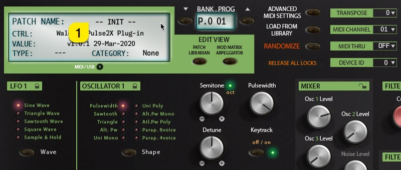 Pulse2X User Manual – Patch Name Display