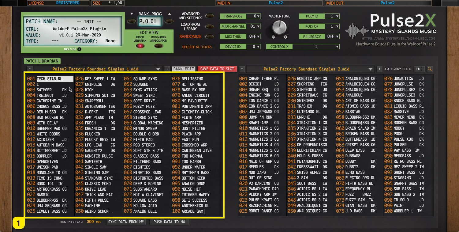 Pulse2X User Manual – Left Patch Bank content view