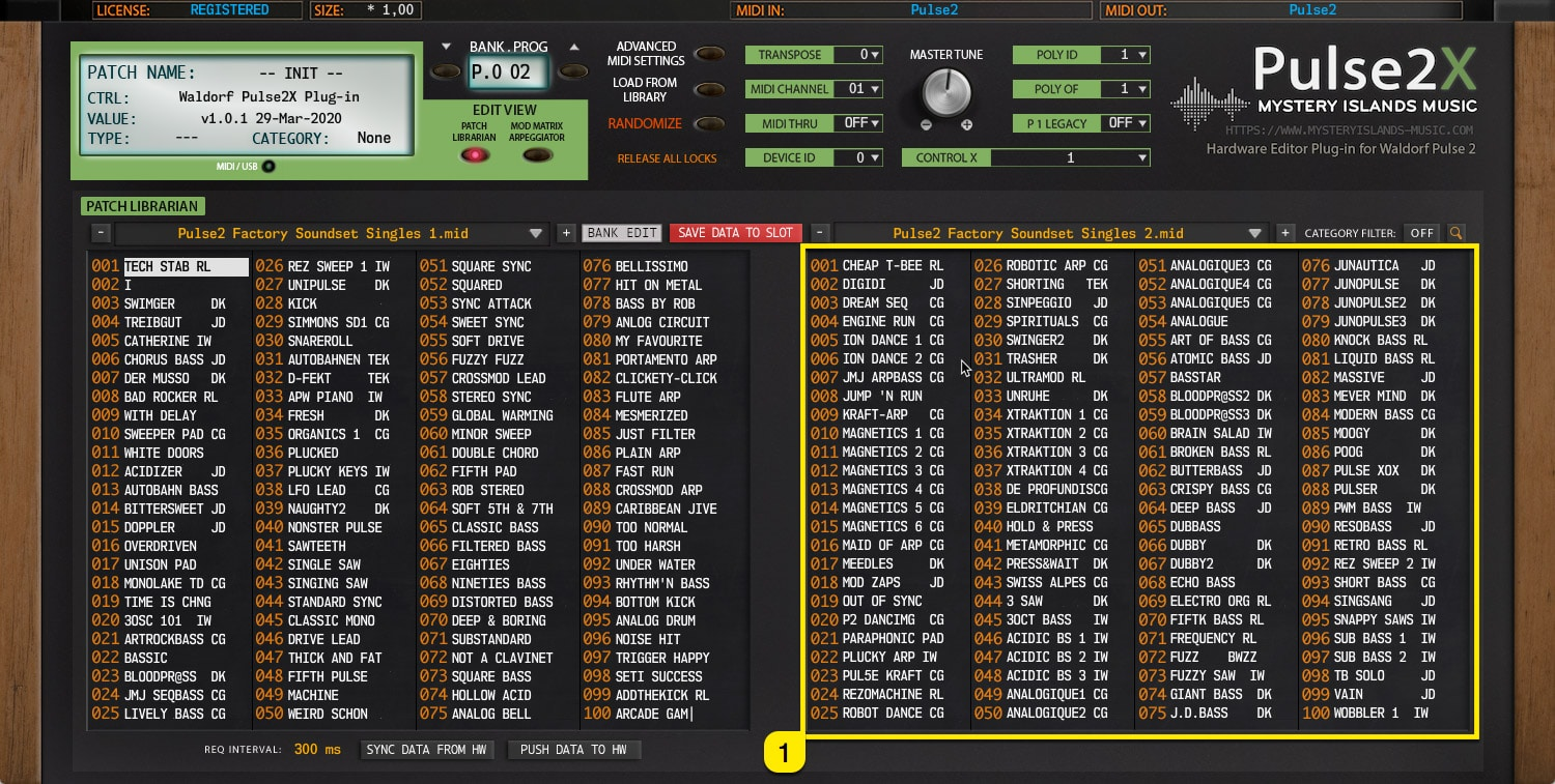Pulse2X User Manual – Right Patch Bank content view